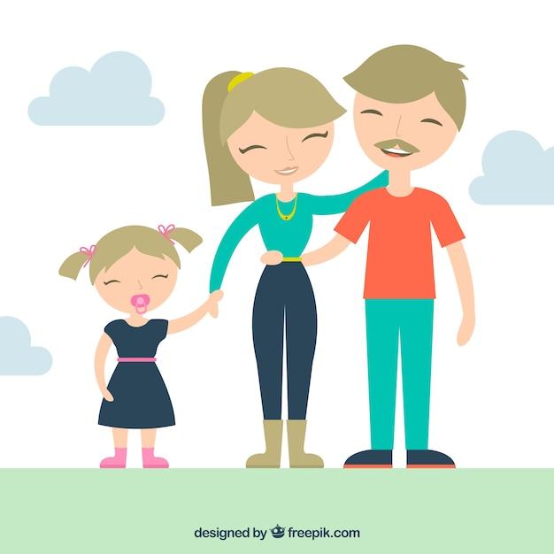Famille blond Vecteur gratuit