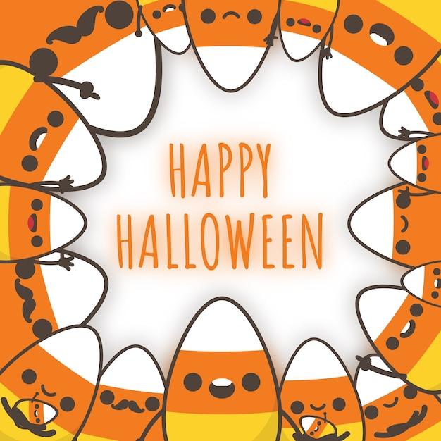 Famille de bonbons au maïs d'halloween décorer un cadre. Vecteur Premium