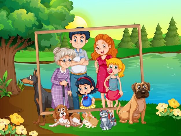 Famille sur cadre en bois Vecteur gratuit