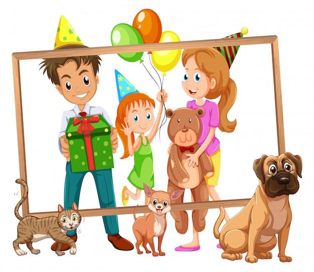 Famille Sur Cadre Photo Vecteur gratuit