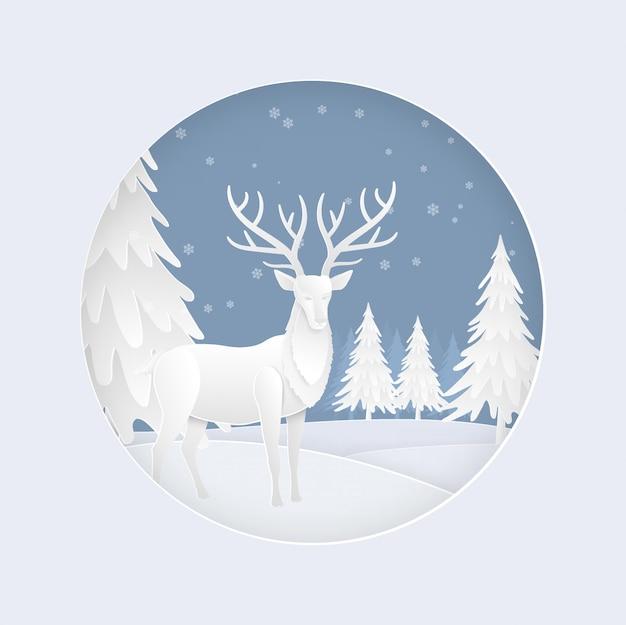Famille de cerfs dans la forêt avec de la neige en hiver. carte de noël Vecteur Premium