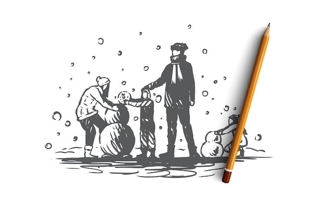 Famille, Convivialité, Hiver, Concept De Bonheur De Noël. Les Parents Et Deux Enfants Construisent Un Bonhomme De Neige. Illustration De Croquis Dessinés à La Main Vecteur Premium