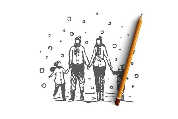 Famille, Convivialité, Hiver, Concept De Bonheur De Noël. Parents Et Deux Enfants Marchant Sur La Neige En Hiver Et Se Tenant La Main. Illustration De Croquis Dessinés à La Main Vecteur Premium