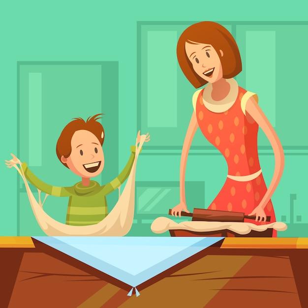 Famille cuisine fond avec mère et fils faire pâtisserie Vecteur gratuit