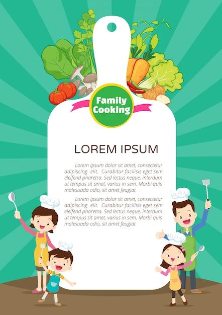 Famille cuisine modèle de conception menu cuisine menu. mignon petit chef cuisine hommes de repas Vecteur Premium