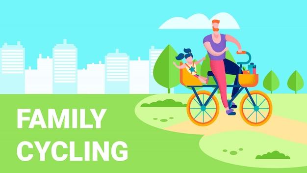 Famille cyclisme loisirs de plein air illustration de texte plat Vecteur Premium