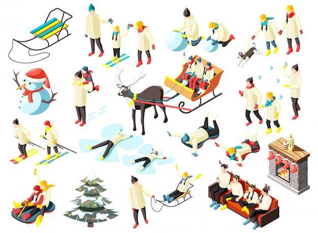 Famille Dans Diverses Activités Pendant Les Vacances D'hiver Ensemble D'icônes Isométriques Isolés Vecteur gratuit