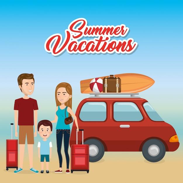 Famille Dans La Plage Vacances D'été Vecteur gratuit