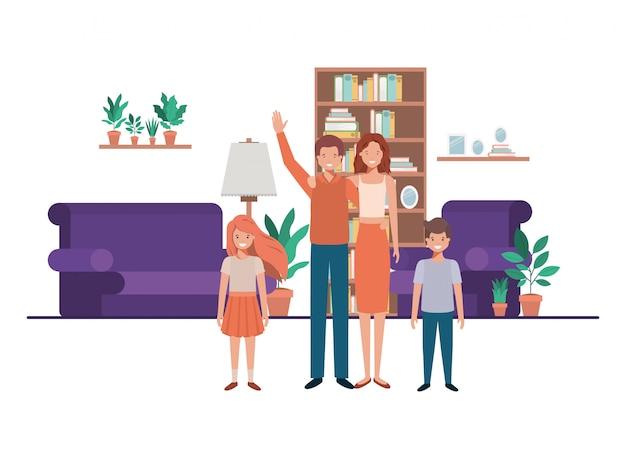 Famille dans le salon avec bibliothèque personnage avatar Vecteur Premium