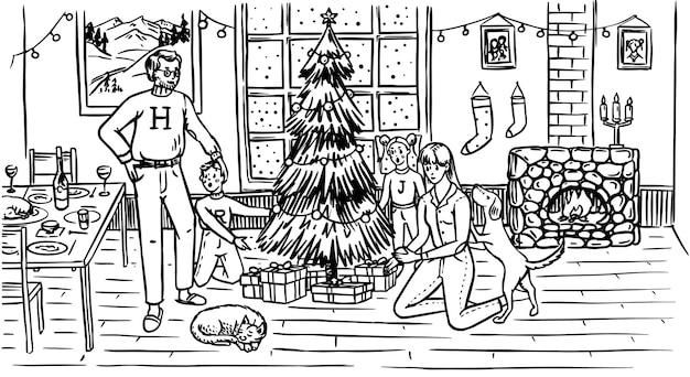 La Famille Décore Le Sapin Pour Noël. Maman Papa Chien Chat Et Enfants à La Fenêtre Avec Un Vecteur Premium
