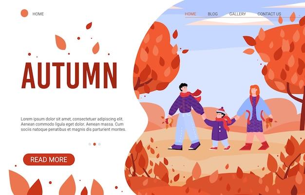 Famille De Dessin Animé Dans La Nature Automne - Modèle De Bannière De Site Web Vecteur Premium