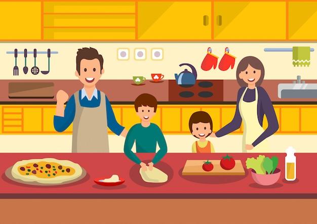 Famille de dessin animé heureux cuisine pizza dans la cuisine. Vecteur Premium