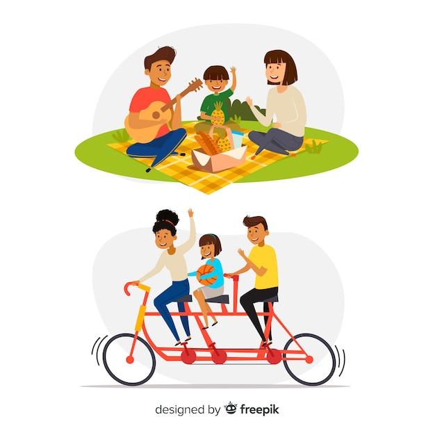Famille dessiné à la main dans le parc Vecteur gratuit