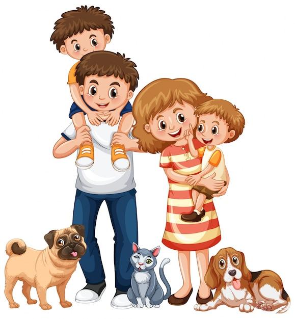 Famille avec deux garçons et animaux domestiques Vecteur Premium