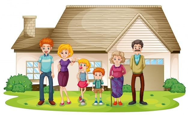 Une famille devant leur grande maison Vecteur gratuit