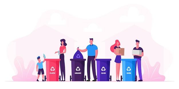 Famille Avec Enfants Ramasse Les Déchets Apportez-les Aux Bacs De Recyclage, Les Gens Recyclent Les Déchets Dans Différents Conteneurs Pour Les Séparer Afin De Réduire La Pollution De L'environnement. Illustration Plate De Dessin Animé Vecteur Premium