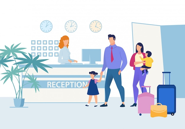Famille avec enfants à la réception de l'hôtel Vecteur Premium