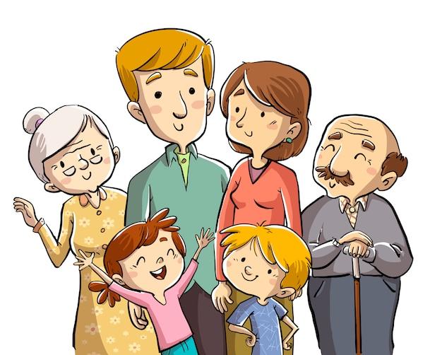 Famille Ensemble Vecteur Premium