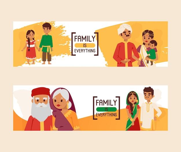 La famille est tout ensemble de bannières. grande famille indienne heureuse en costume national. parents, grands-parents et enfants, personnages de dessins animés. Vecteur Premium