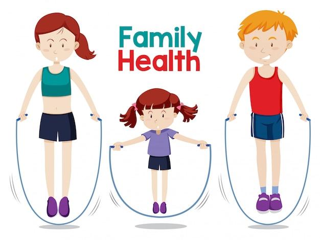 Famille faisant de l'exercice ensemble Vecteur gratuit