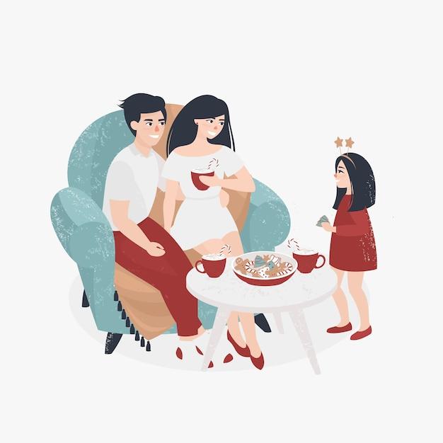 Famille fête noël à la maison Vecteur Premium