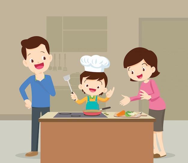 Famille et fils cuisine Vecteur Premium