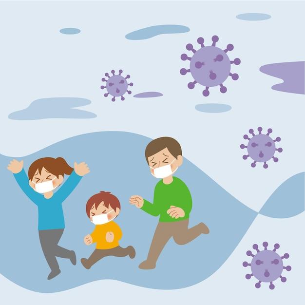 Famille Fuyant Les Particules De Coronavirus Vecteur Premium