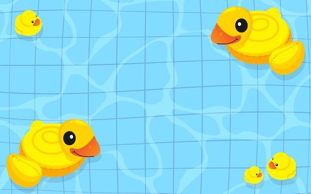 Famille Gonflable De Canard En Caoutchouc Jaune Flottant Sur L'eau Vecteur Premium
