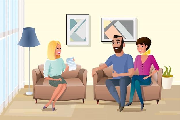 Famille heureuse, acceptant les termes du vecteur de contrat Vecteur Premium
