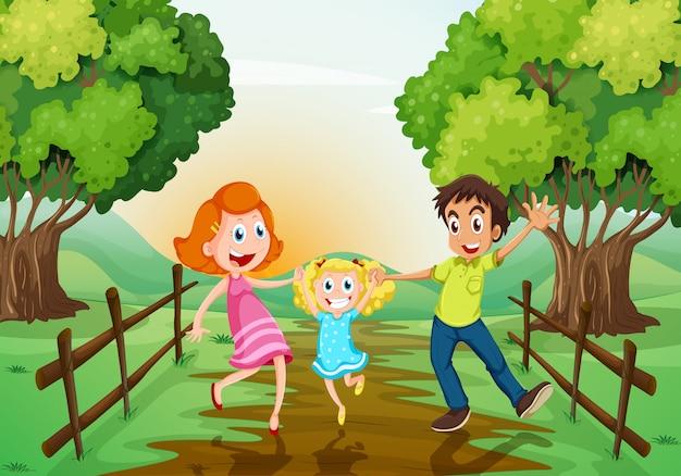 Une famille heureuse au bois Vecteur gratuit