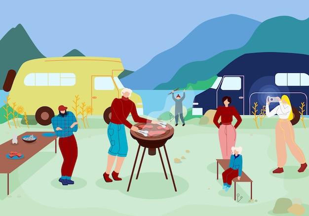 Famille heureuse ayant du temps libre avec barbecue. Vecteur Premium
