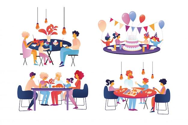 Famille heureuse célébrer et ensemble sparetime isolé. Vecteur Premium