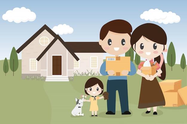Famille heureuse avec chien qui déménage dans une nouvelle maison Vecteur Premium