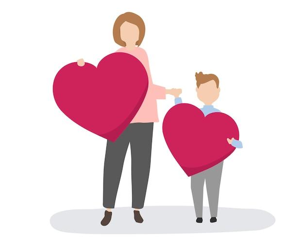 Famille heureuse avec des coeurs rouges Vecteur gratuit