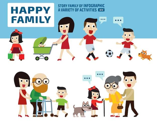 Famille heureuse. concept d'activités de loisirs .. éléments infographiques. Vecteur Premium