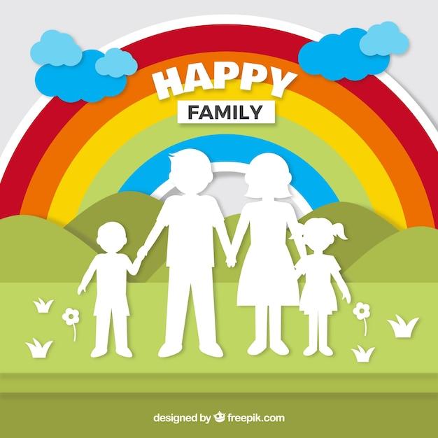Famille heureuse dans le style de papier d'art Vecteur gratuit