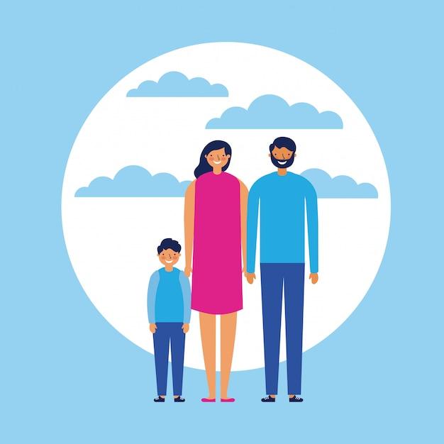 Famille heureuse avec enfant, style plat Vecteur gratuit
