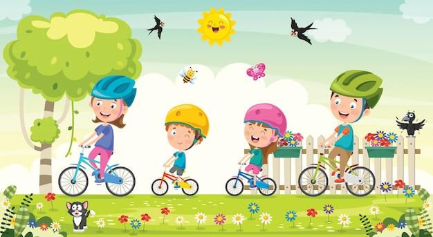 Famille Heureuse, équitation, Bicyclette, Ensemble Vecteur Premium