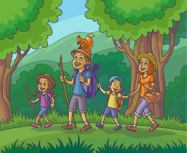Famille heureuse est en randonnée dans la forêt illustration vectorielle Vecteur Premium