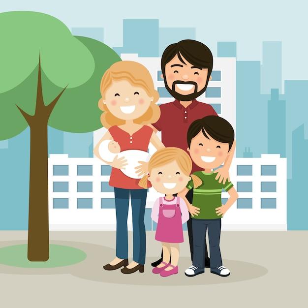 Famille heureuse avec parents, enfants et bébé dans un jardin Vecteur Premium