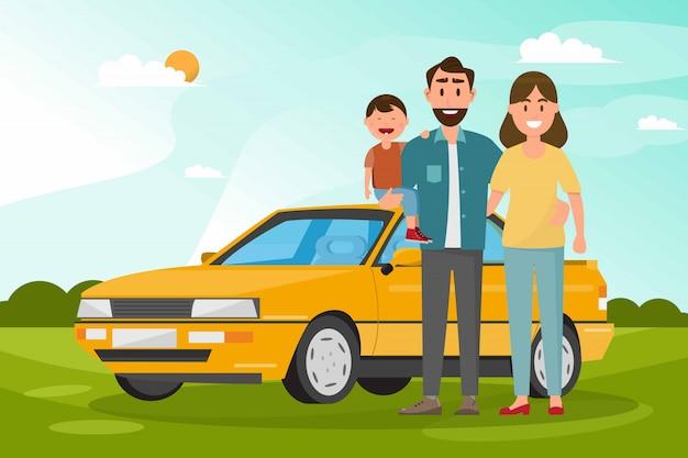 Famille heureuse. père, mère et enfants vont voyager en voiture avec fond de nature Vecteur Premium
