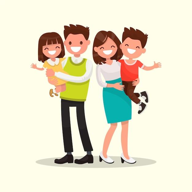 Famille Heureuse. Père, Mère, Fils Et Fille Ensemble Illustration Vecteur Premium