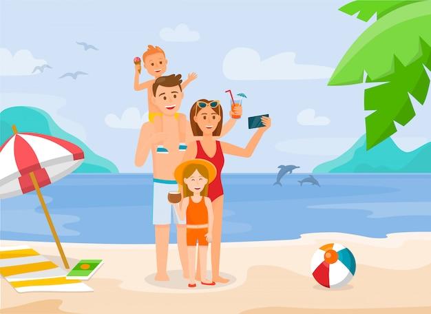 Famille heureuse sur la plage Vecteur Premium