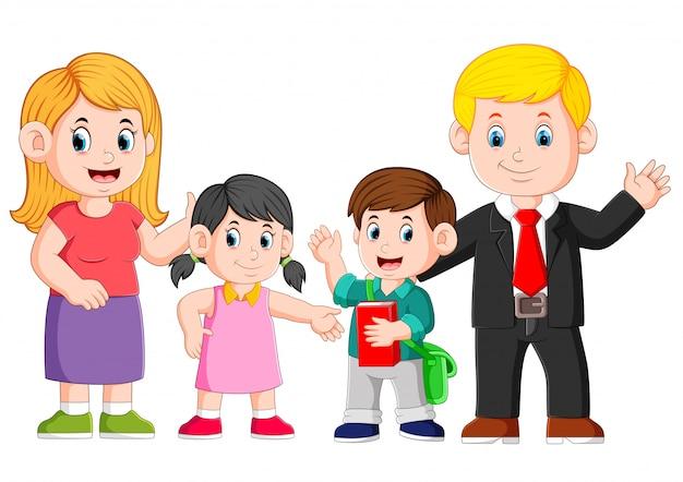 La famille heureuse pose avec le visage heureux Vecteur Premium