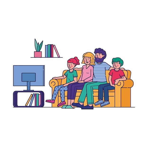 Famille Heureuse, Regarder La Télévision Ensemble Vecteur gratuit