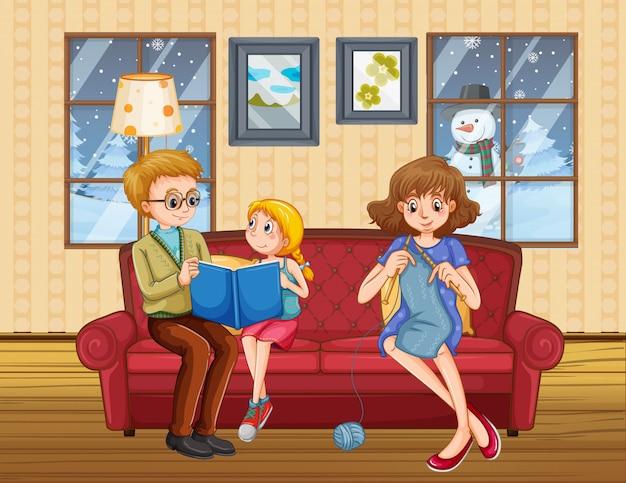 Famille Heureuse Rester à La Maison En Hiver Vecteur gratuit