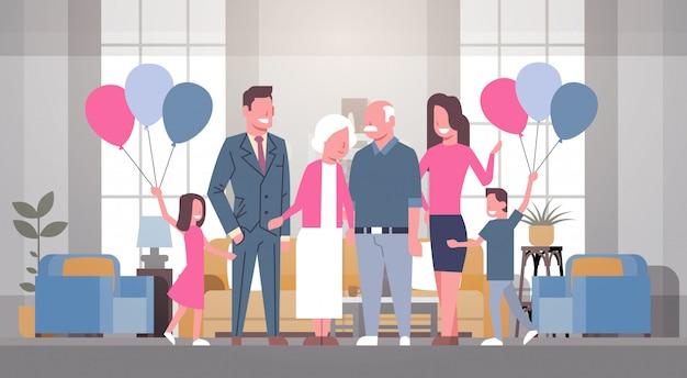 Famille heureuse réunissant grand-père et grand-mère avec la journée des grands-parents Vecteur Premium