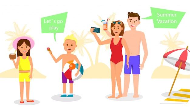 Famille heureuse se reposer au resort. parents et enfants Vecteur Premium