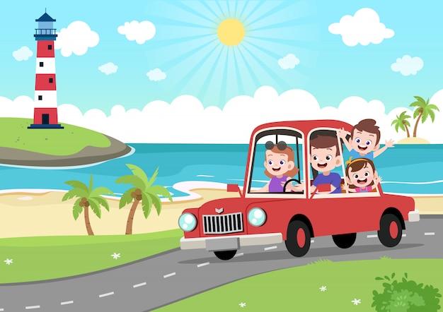 Famille heureuse en vacances Vecteur Premium