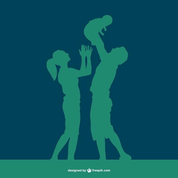 Famille heureuse vecteur silhouette Vecteur gratuit